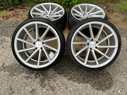 Silver R20 Vossen Cvt 4 Wheels With Tires 20x10 1/2 Pulled From Nissan 370z