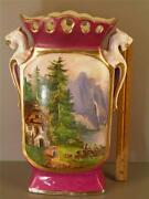 Antique Old Paris Hand Painted Porcelain Figural Scenic Vase 14 1/2and039and039