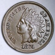 1874 Indian Head Small Cent Choice Unc Free Shipping E131 Ocnw