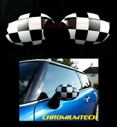 Mk1 Mini Cooper/s/one R50 R52 R53 Chequered Flag Wing Mirror Caps Cover For Lhd