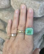 Natural Emerald Diamond And Blue Zircon 14k Gold Cocktail Ring