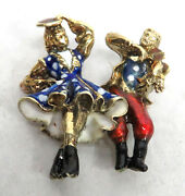 Vintage 18k Gold Enamel Timberline And Fiddle Square Dancing Couple Brooch