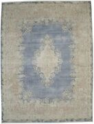 Muted Navy Blue Antique Traditional Large 10x13 Oriental Rug Home Decor Carpet