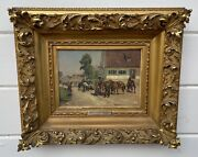Antique Max J. Pitzner 1855-1912 Soldiers On Horses Oil Painting