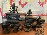 Large Lot Vintage Cast Iron Toy Stoves And Parts X3 Many Extras Queen Crescent