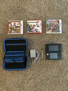 Nintendo 3ds Console - Cosmo Black   With Pen, Case, Charger, And Three Games