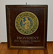 Vintage Provident Fire Insurance Company Wood Advertising Meyercord Sign