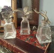 Set Of 3 Heavy Glass Perfume Bottles With Metal Floral Tree Branch Stoppers