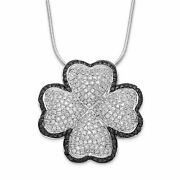 Silver Black And Clear Cz Brilliant Embers Four Leaf Clover Necklace Qmp455