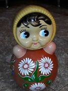 Vintage Ussr Celluloid Plastic Roly Poly Toy Doll Nevalyashka Soviet Russian 40