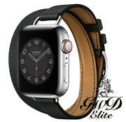 18k Gold Plated Hermes Apple Watch Series 6 Double Tour Attelage Noir 40mm