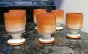 Jb Cole Pottery Seagrove Nc Red Eye Gravy Set Of 6 Goblets Rare