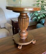 Antique Oak Pedestal Or Plant Stand Early 1900and039s