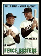 1967 Topps 423 Willie Mays/willie Mccovey Fence Busters Dp Very Good Giants Fen