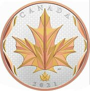 2021 Canada S50 Maple Leaf In Motion Yellow And Rose Gold Plating 5 Oz Silver Ogp