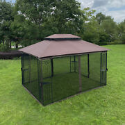 13'x10' 2-tier Gazebo Canopy Cover Patio Steel Bbq Party Tent Shelter With Mesh