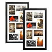 Qutrey 4x6 Black Collage Picture Frames Set Of 2 8 Openings Matted Collage Fr...