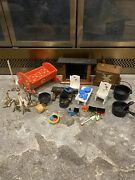 Vintage Wooden Doll House Furniture With Metal Accessories And More Must See