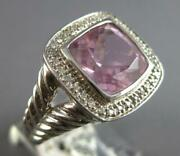 Large 3.54ct Diamond And Aaa Pink Quartz 14kt White Gold Cushion And Round Fun Ring