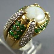 Estate Large 2.42ct Diamond And Aaa Tsavorite And Opal 14kt 2 Tone Gold 3d Mens Ring