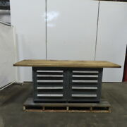 Solid Wood Top 10 Drawer Small Parts Storage Work Station Bench 30dx90wx35h