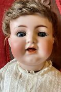 """Antique 22"""" German Bisque Kammer Reinhardt 126 Doll W/great Wig And Outfit"""