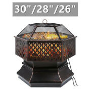 Outdoor Patio Fire Pit Wood Burning Heater Backyard Stove Fireplace W/ Cover Us