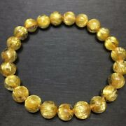 8mm Top Natural Gold Rutilated Quartz Crystal Clear Round Beads Bracelet Aaaaa