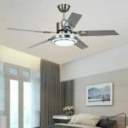 Ceiling Fan Light 52and039and039 5 Stainless Steel Blades Led Fan Lamp W/ Remote Control