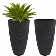 Set 2 Tall Black Planters Two Outdoor Indoor Patio Deck Flower Pots Round Resin