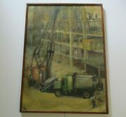Vintage Large Industrial Painting Construction Urban City Architecture Creo Rare