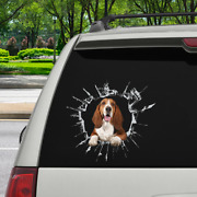 Itand039s Time For Shopping - Basset Hound Car Decal Broken Glass Vinyl 3d 12x12