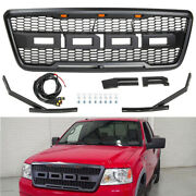 Black Grill For 2004-2008 Ford F150 Raptor Style Front Bumper Grille W/led Grill