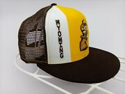 Vintage Rare 1980s 80s Wyoming Cowboys Yellow Ajd Lucky Stripes Trucker Hat