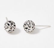 Lois Hill Sterling Silver Carved 8mm Bead Stud Earrings