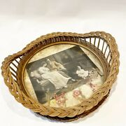 Antique Wicker Wood Round Serving Tray Basket Flowers Family Photo Baby Inlay