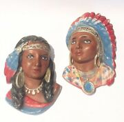 Vtg Indian Faces Heads Chalkware Chiefs Bust Native American Southwest Art Mask