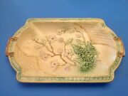 Antique Banks And Thorley Majolica Platter Ferns And Bow Pattern C.1800andrsquos