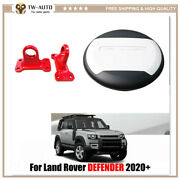 Fits For Land Rover Defender 2020 2021 Fuji White Spare Tyre Tire Cover Tow Hook