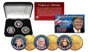 Donald Trump / Melania / Mike Pence 3-coin Set Colorized 24k Gold Plated W/ Box