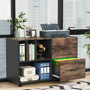 Tribesigns 2-drawer Lateral File Cabinets Mobile Filing Cabinet Printer Stand