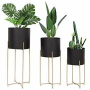 Mid Century Planter With Gold Plant Stand, 3 Pcs Modern Planters For Indoor