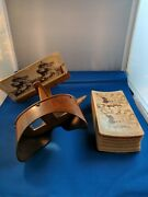 Antique Stereoscope Photo Viewer Stereoscopic Wood Brass Glass W/ 27 Pictures