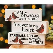 Cardinals Lot Of 3 Wood Block Signs Farmhouse Country Distressed Memory Sympathy
