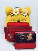 Loungefly Disney Winnie The Pooh Floral Crown Flocked Mini Backpack And Wallet Nwt