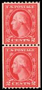 United States Scott 486 2c Washington Franklin Rotary Perforated 10 Vertical Coi