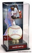 David Ortiz Boston Red Sox Signed Baseball And Gold Glove Display Case W/ Image