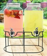 Double Glass Mason Jar For Drinks On Metal Stand With Leak Free Spigot, 1 Gallon