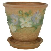 Roseville Pottery Cosmos 1939 Tan Flower Pot Planter And Saucer 650-5