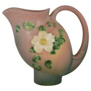 Roseville Pottery White Rose 1940 Pink And Green Art Deco Pitcher 1324